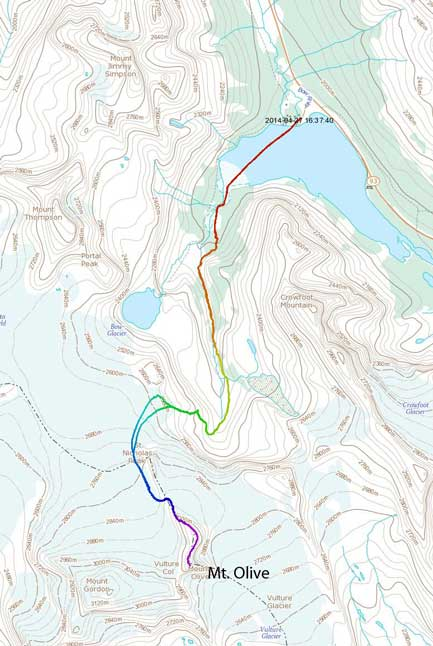 Mt. Olive standard ascent route from Bow Hut