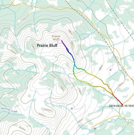 Prairie Bluff hiking route