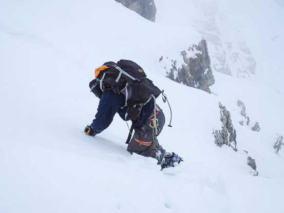 Me starting the snow part. Firstly I had to face inwards and traverse to our gully. Photo by Vern