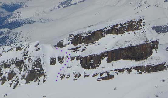 The purple dots show our route up the gullies. Photo taken from Mt. Collie in the previous week.