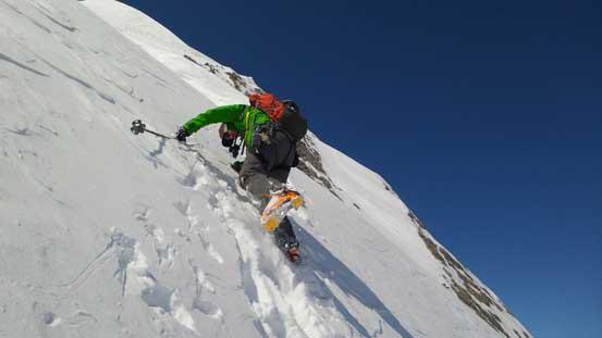Vern down-climbing and traversing north facing slope