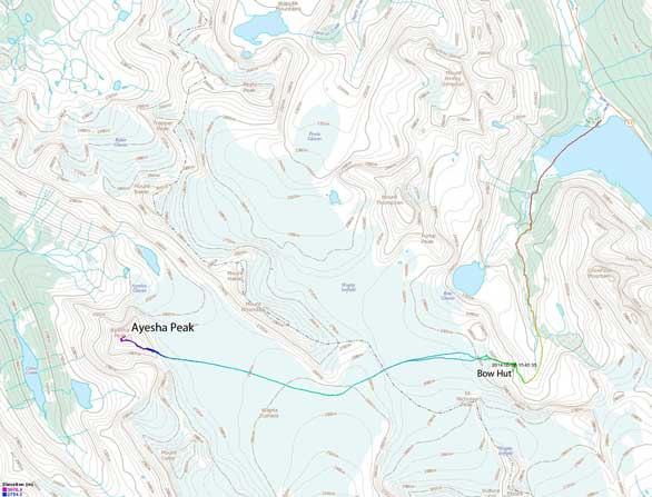 Ayesha Peak ski ascent route via Bow Hut