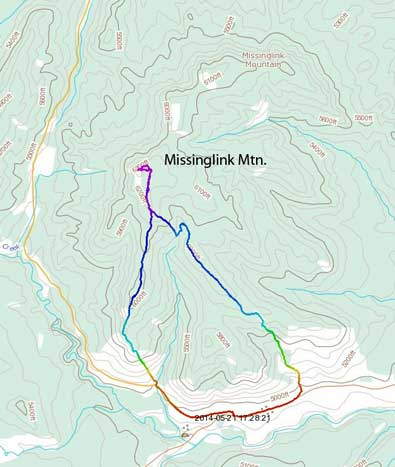 Missinglink Mountain hiking route