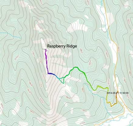 Raspberry Ridge hiking route