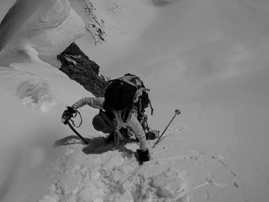 Me dropping down into the giant south facing slope. Photo by Vern