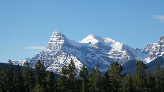 Mt. Chephren and White Pyramid from Saskatchewan River Crossing