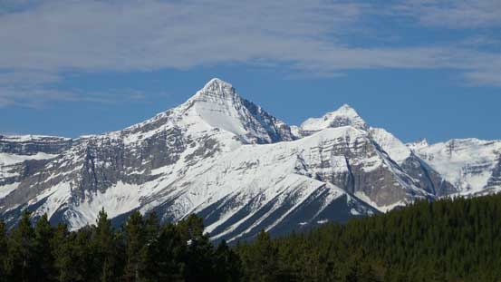 Mt. Outram and Mt. Forbes from Saskatchewan River Crossing