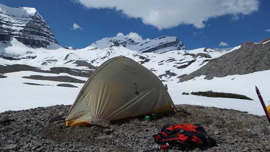 My tent with Cirrus Mountain in the background