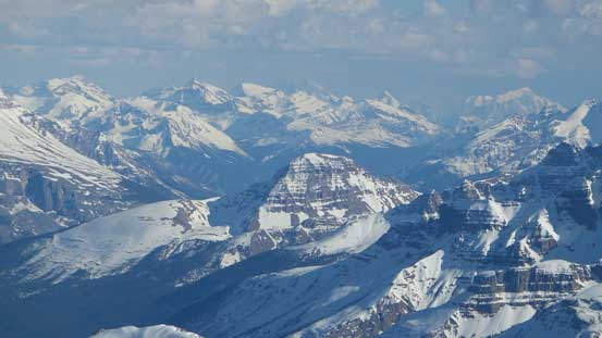 The distant peaks on Freshfield Icefield