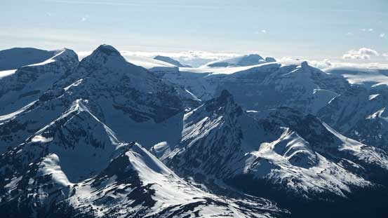 Peaks on Columbia Icefield including Athabasca, Snow Dome and North Twin