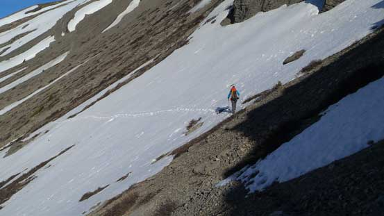 Side-sloping across scree and snow