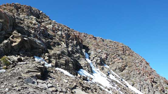Scrambling up the second summit