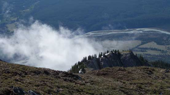 Clouds started to form on Ernest Ross' ascent ridge