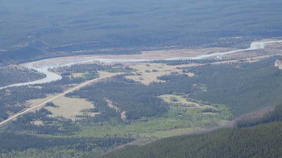 Zooming-in of Kootenay Plain (and Highway 11)
