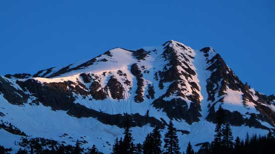 Alpenglow on Grizzly Mountain. The rightmost couloir is Grizzly Couloir.