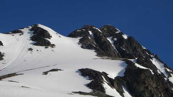 Approaching the ascending gully