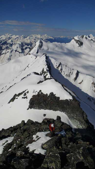 Ben coming up the next step. Balu Peak and Ursus Major Mountain behind