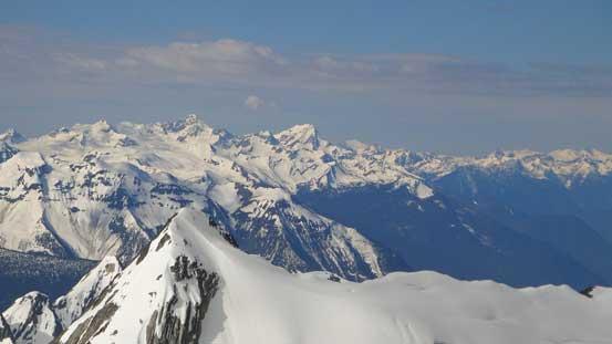 More Selkirk summits looking south including Albert Peak