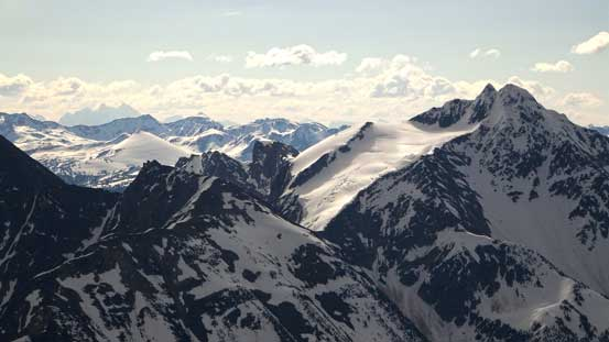 The twin summits of Avalanche Mountain on right. Behind on the left skyline is Mt. Goodsir