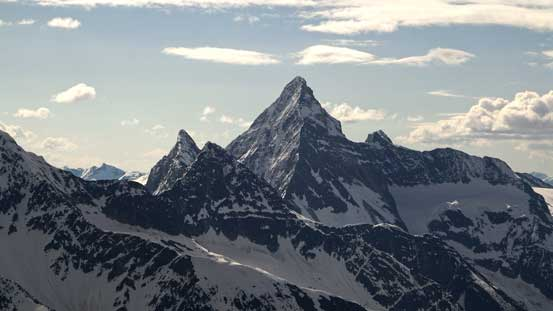 To the left of Sir Donald are Uto Peak and Eagle Peak. To the right is Terminal Peak