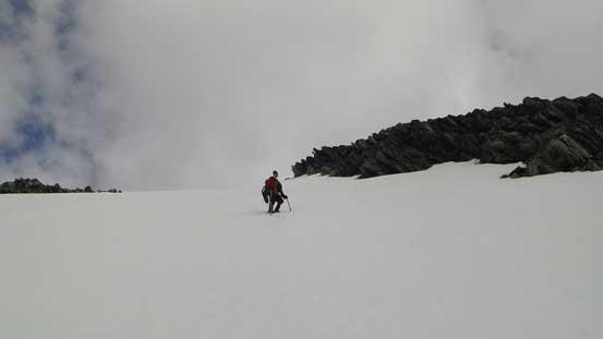 Ben descending the steep gully