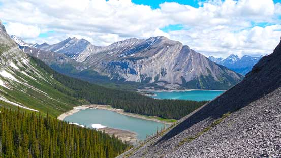 Looking back at Hidden Lake and Upper Kananaskis Lake