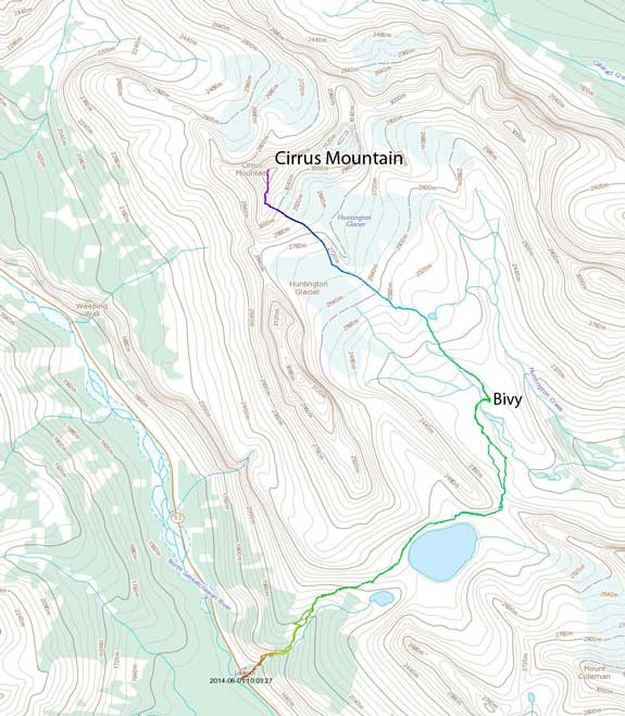 Cirrus Mountain ascent route via Coleman Lake