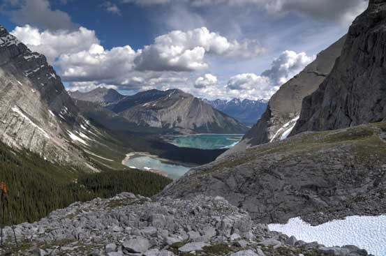 A view of Hidden Lake and Upper Kananaskis Lake from the return. Photo by Ben