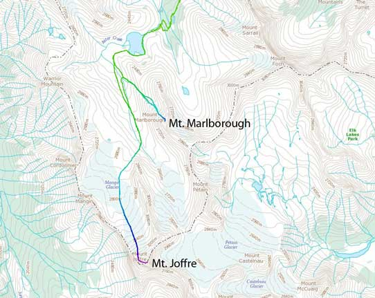 Ascent route for Mt. Joffre and Mt. Marlborough