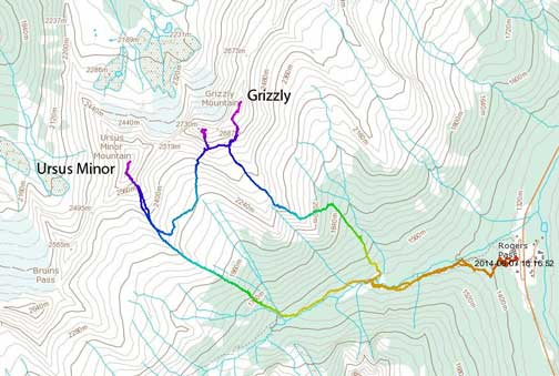 Ursus Minor Mountain and Grizzly Mountain ascent route