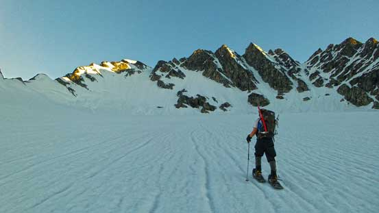 Ben snowshoeing up Swiss Glacier. Our ascending gully is just left of center