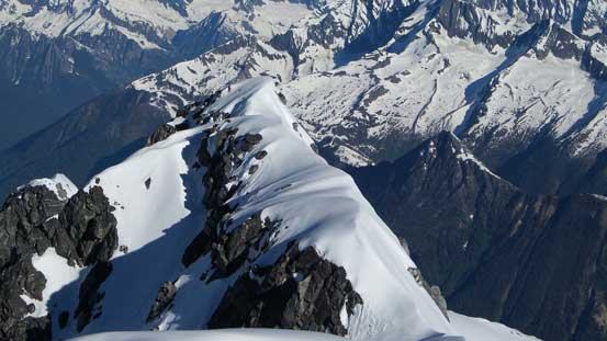 The west ridge has some impressive cornice scenery
