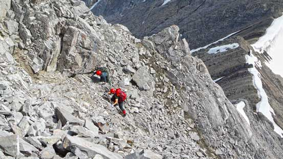 Josh and Brandon scrambling up the summit block.