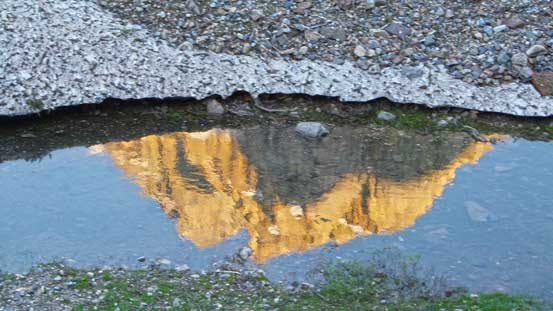 Reflection of Mt. Aberdeen on a seasonal pond