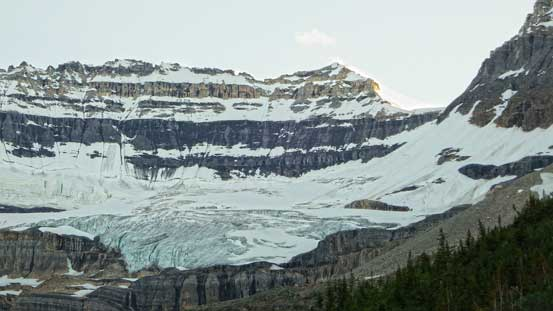 Looking ahead to our objective and the fractured Victoria Glacier