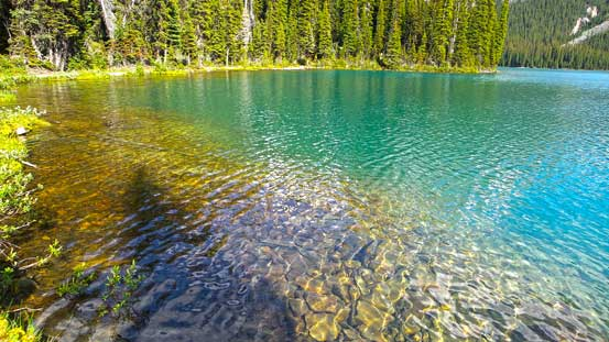 Crystal clear water in Lake O'Hara