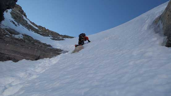 Ben down-climbing the upper gully. Just below him was a thin/icy spot
