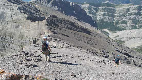 Walking down slabs from the summit of Goat Mountain