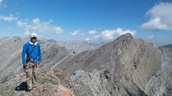 Me on the summit of Peak 6, with Goat Mountain behind
