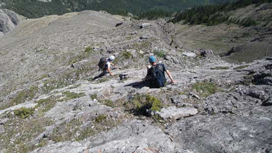 Then we down-climbed to a good scree ledge