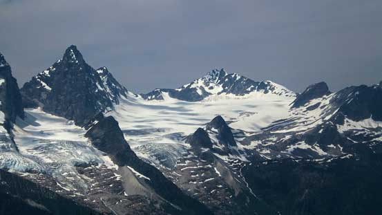 Uto Peak and Avalanche Mountain with a not-so-often seen glacier