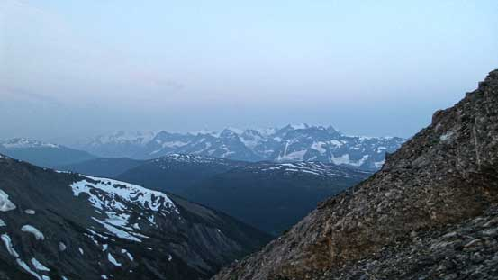 A view from the ascent. Normally this would be alpenglow time, but thank to the smoke.....