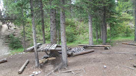 The campsite at the bottom of Black Rock Mountain trail