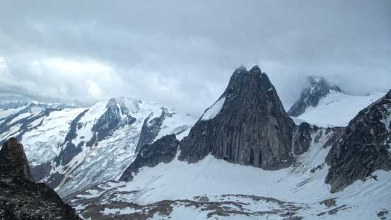 Impressive Snowpatch Spire, hardest spire in the entire Bugaboos..
