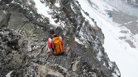 Ferenc starting the traverse to true summit