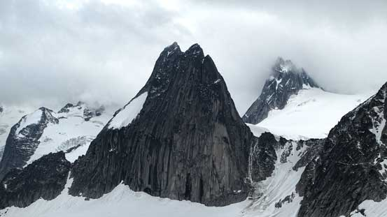 A closer view of Snowpatch Spire. Bugaboo/Snowpatch col just to its right.