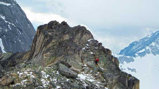 Ferenc searching for a route up the true summit
