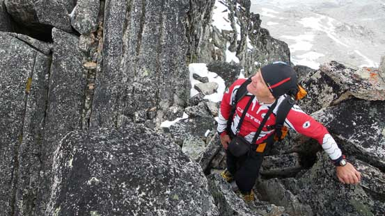 Ferenc admiring the intimidating NE Ridge of Bugaboo Spire!