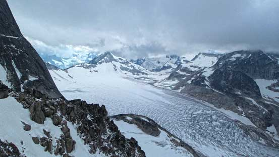 The clouds prevented us from seeing the Conrad Group, but we still got decent view of Vowell Glacier