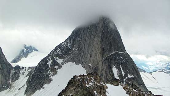 Bugaboo Spire will be our objective on the 2nd day - getting psyched! The left skyline ridge..